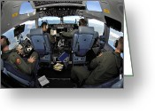 Control Greeting Cards - C-17 Globemaster Iii Crew Members View Greeting Card by Stocktrek Images