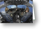 Control Greeting Cards - C-17 Globemaster Iii Pilots Practice Greeting Card by Stocktrek Images