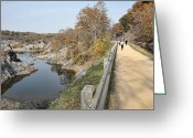 Jogging Greeting Cards - C and O Canal Above and Potomac River Below Greeting Card by William Kuta