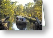 Hikers And Hiking Photo Greeting Cards - C & O Canal And Towpath With Barge Greeting Card by Richard Nowitz