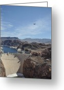 C130 Greeting Cards - C130 over Hoover Dam Greeting Card by Mark Highfield