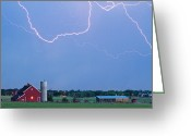 Typhoon Greeting Cards - C2C Red Barn Lightning Rodeo  Greeting Card by James Bo Insogna