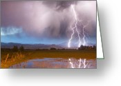 Typhoon Greeting Cards - C2G Lightning Bolts Striking Longs Peak Foothills 6 Greeting Card by James Bo Insogna