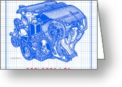 Corvette Gift Drawings Greeting Cards - C5 2001 - 2004 LS6 Z06 Corvette Engine Blueprint Greeting Card by K Scott Teeters
