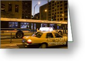 Speeding Taxi Greeting Cards - Cab and Bus Speeding on Michigan Avenue Greeting Card by Purcell Pictures