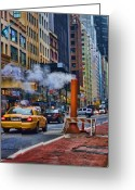 Vapor Greeting Cards - Cab on 57th Greeting Card by June Marie Sobrito