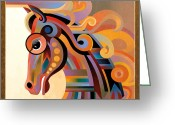 Abstract Realism Painting Greeting Cards - Caballo Greeting Card by Bob Coonts