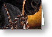 Caballo Greeting Cards - Caballo y Jaquima Greeting Card by Karen Slagle
