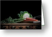 Food Pyrography Greeting Cards - Cabbage and Carrots Greeting Card by Krasimir Tolev