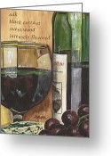 Purple Painting Greeting Cards - Cabernet Sauvignon Greeting Card by Debbie DeWitt