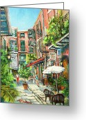 Pirates Painting Greeting Cards - Cabildo Alley Greeting Card by Dianne Parks