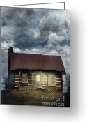Log House Greeting Cards - Cabin at Night Greeting Card by Stephanie Frey