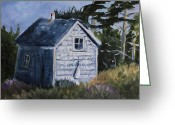 Cal Kimola Greeting Cards - Cabin at the Hawk Greeting Card by Cal Kimola