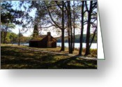 Indiana Autumn Photo Greeting Cards - Cabin by the Lake Greeting Card by Sandy Keeton