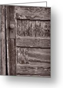 Teton National Park Greeting Cards - Cabin Door BW Greeting Card by Steve Gadomski