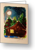 Cabin Window Painting Greeting Cards - Cabin in the Evening Greeting Card by John  Williams