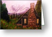 Must See Greeting Cards - Cabin in the mountains Greeting Card by Tina Haeger