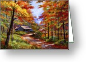 Featured Artist Painting Greeting Cards - Cabin In the Woods Greeting Card by David Lloyd Glover