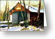 Carversville Greeting Cards - Cabin Run Covered Bridge Greeting Card by Kit Dalton