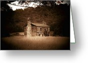 Log Cabins Photo Greeting Cards - Cabin Thru the trees Greeting Card by Joyce L Kimble