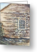 Cabin Window Painting Greeting Cards - Cabin Window Greeting Card by Todd A Blanchard