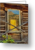Reflected Greeting Cards - Cabin Windows Greeting Card by Jeff Kolker