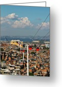 Overhead Greeting Cards - Cable Car Complex Greeting Card by Ruy Barbosa Pinto