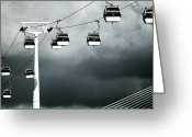 Overhead Greeting Cards - Cable Railway In Lisbon. Greeting Card by Pedro Jess Pacheco Martn