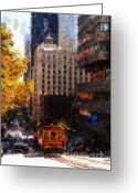 Big Cities Greeting Cards - Cablecar on San Francisco California Street  . Painterly . 7D7176 Greeting Card by Wingsdomain Art and Photography