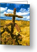 Cactus Flower Digital Art Greeting Cards - Cactus Cross Greeting Card by Lou  Novick