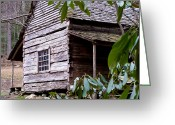 Cabin Window Greeting Cards - Cades Cove Cabin Greeting Card by Jim Finch