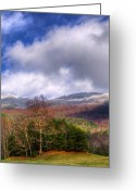 Autumn Scenes Greeting Cards - Cades Cove First Dusting of Snow II Greeting Card by Debra and Dave Vanderlaan