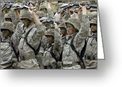 Camouflage Clothing Greeting Cards - Cadets Prepare To Participate Greeting Card by Stocktrek Images