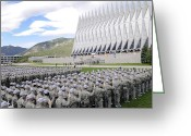 Pledge Of Allegiance Greeting Cards - Cadets Recite The Oath Of Allegiance Greeting Card by Stocktrek Images