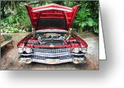 Stripe.paint Greeting Cards - Cadillac Engine Greeting Card by Rudy Umans