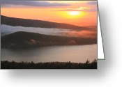 Clods Greeting Cards - Cadillac Mountain sunset Greeting Card by Roupen  Baker