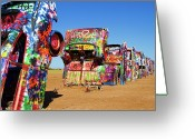The Mother Road Greeting Cards - Cadillac Ranch 2  Greeting Card by Lana Trussell