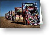 The Mother Road Greeting Cards - Cadillac Ranch Greeting Card by Lana Trussell