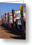 The Mother Road Greeting Cards - Cadillac Ranch Route 66 Greeting Card by Susanne Van Hulst