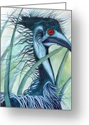 Emu Greeting Cards - Caeruleus Greeting Card by Lesley Smitheringale