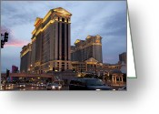 Dusk Greeting Cards - Caesars Palace  Greeting Card by Jane Rix