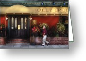 Trolley Greeting Cards - Cafe - Jolly Trolley Greeting Card by Mike Savad