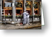 Work Lamp Greeting Cards - Cafe - The Painters Greeting Card by Mike Savad