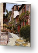 Chairs Greeting Cards - Cafe Bifo Greeting Card by Guido Borelli