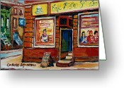 Montreal Street Life Greeting Cards - Cafe Bistro St. Viateur Greeting Card by Carole Spandau