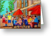 Montreal Summer Scenes Greeting Cards - Cafe Casa Grecque Prince Arthur Greeting Card by Carole Spandau