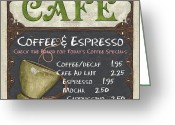 Mocha Greeting Cards - Cafe Chalkboard Greeting Card by Debbie DeWitt