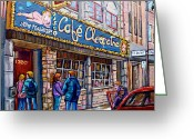 Striptease Greeting Cards - Cafe Cleopatra Montreal Greeting Card by Carole Spandau