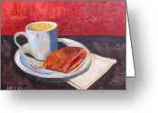 Guava Greeting Cards - Cafe con Leche and Pastelito de Guava Greeting Card by Maria Soto Robbins