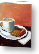 Guava Greeting Cards - Cafe con Leche y Pastelito de Guayaba Greeting Card by Maria Soto Robbins